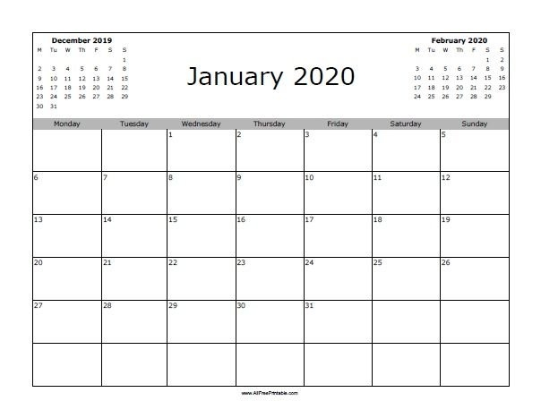 Free Printable January 2020 Calendar. Print The Free January in Free Printable Extra Large Calendars
