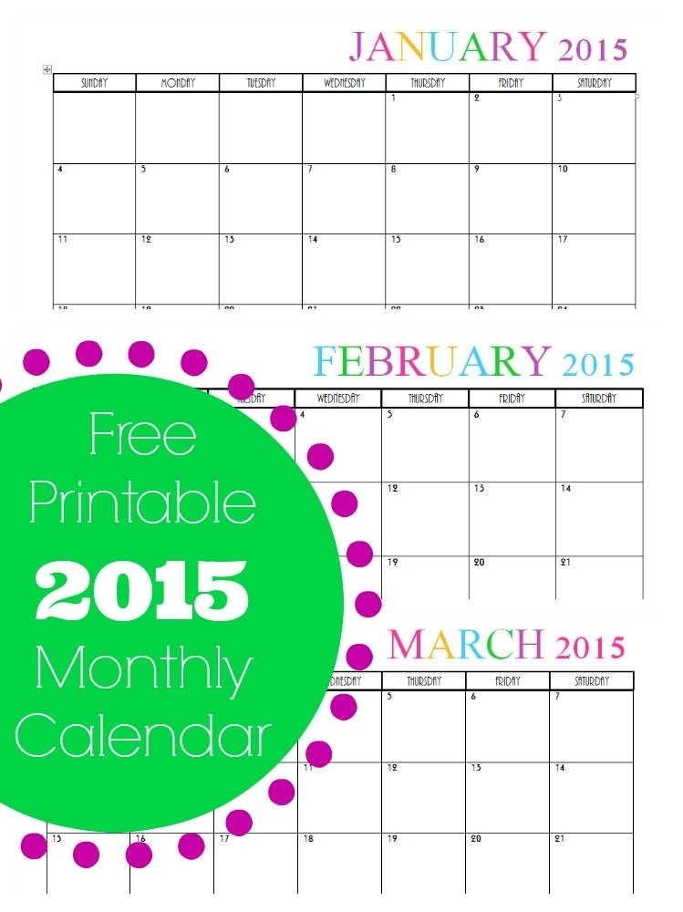 Free Printable Monthly 2015 Calendar throughout Bimonthly Calendar Free Print Graphics