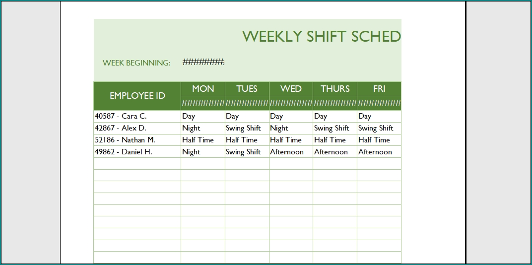 Free Printable Schedule Template For Employees | Bogiolo with Printable Calendar For Employees Time Photo