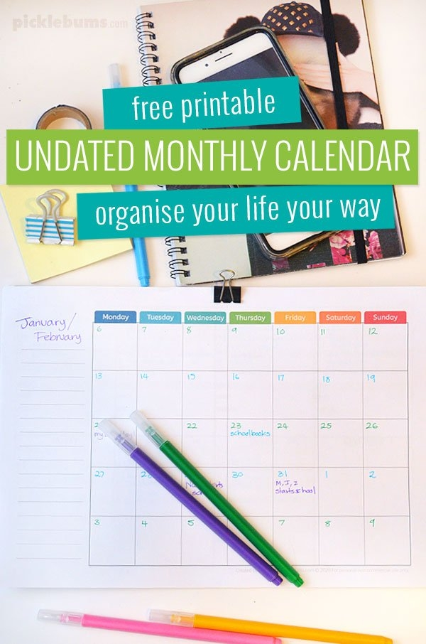 Free Printable Undated Monthly Calendar. - Picklebums with regard to Free No Frills Free Calendar
