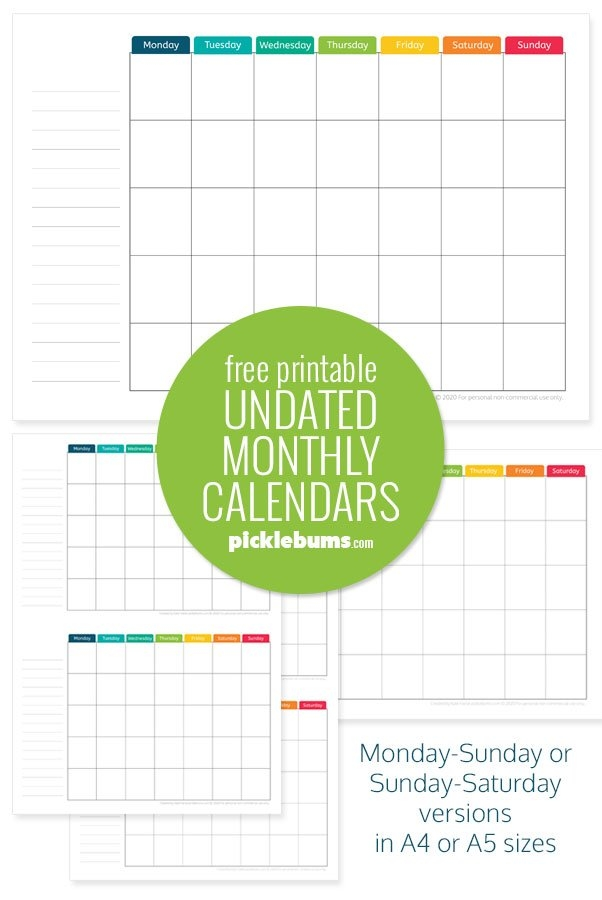 Free Printable Undated Monthly Calendar. - Picklebums within The No-Frills Free Calendar Graphics