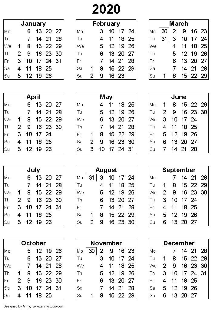 Free Printable Weekly Calendar 2020 – Allowed To Be Able To with regard to Calendar That Numbers To 365