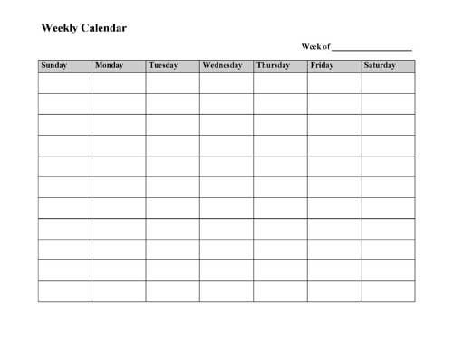 Free Printable Weekly Calendar Template - Microsoft Word in Blank Weekly Calendar Sunday Through Saturday Photo