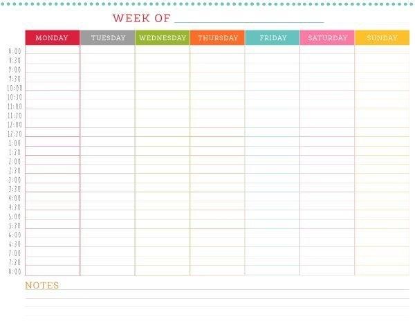 Free Printable Weekly Schedule   Weekly Schedule Printable with Online Blank Weekly Calendar Image