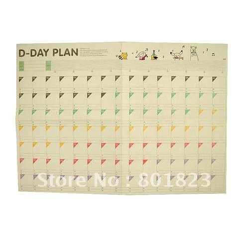 Free Shipping 20Pcs/Lot,100 Day Countdown Calendar Schedule within 100 Day Short-Timers Calendar