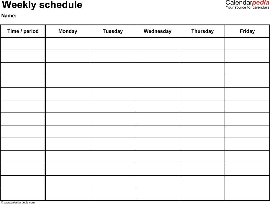 Free Weekly Schedule Templates For Pdf - 18 Templates intended for Single Day Calendar Page Template
