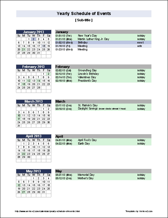 Free Yearly Schedule Of Events Template pertaining to Hr Calendar Sample Photo