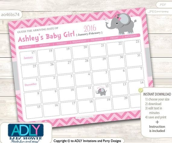 Girl Elephant Guess Due Date Calendar For with Take A Guess Baby Calendar2020 Edit Download Photo