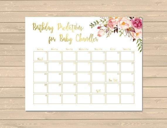 Gold Boho Floral Birthday Prediction Calendar Printable Boho with regard to Guess The Birth Date Calendar