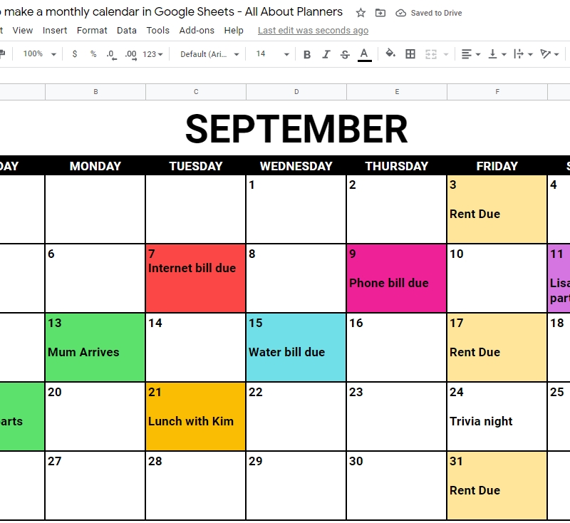 Google Sheets Calendar Template Archives - All About Planners with regard to Free Color Coded Calendar Template Photo