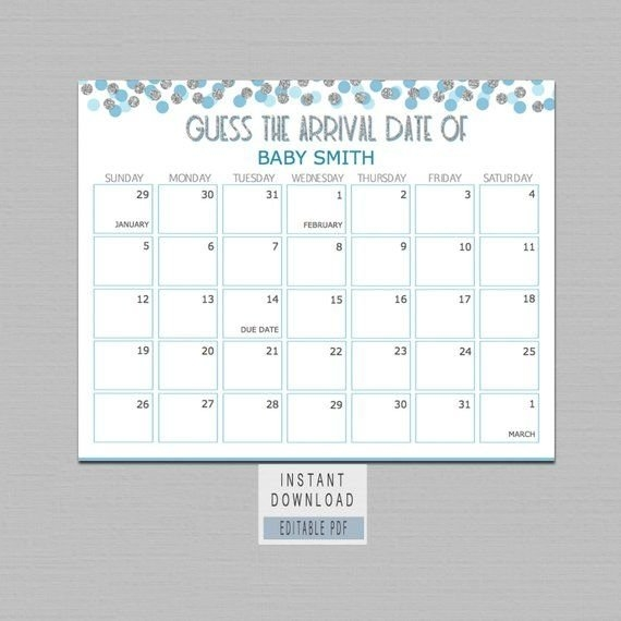 Guess Baby Birthday Calendar, Guess The Due Date Game, Boy in Guess The Birth Date Template