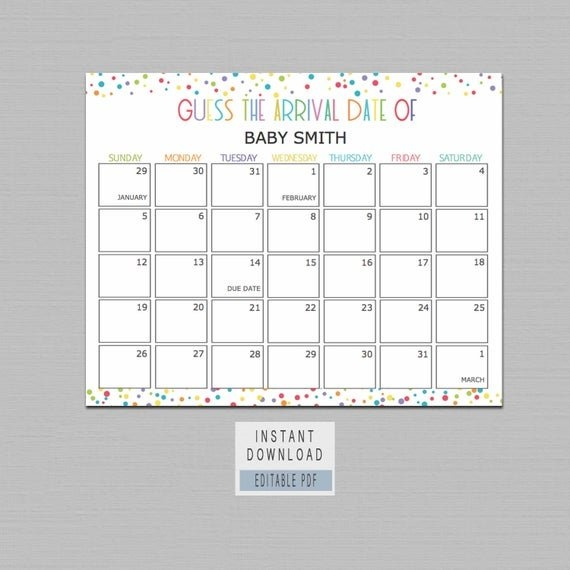 Guess Baby Birthday Calendar, Guess The Due Date Game, Confetti Baby  Shower, Baby Predictions Calendar, Baby Due Date Calendar Editable Bl4 with regard to Guess Baby Smith Due Da Photo
