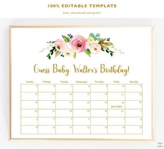 Guess The Due Date Calendar Template | Pdf Template in Guess The Birth Date Template