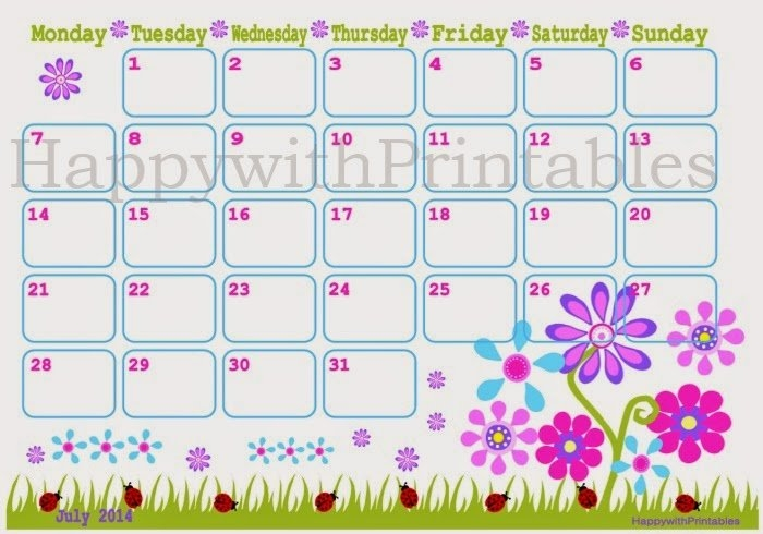 Happywithprintables: July 2014 - Calendar - Diy - Printable with regard to Happy With Printables Calendar Photo