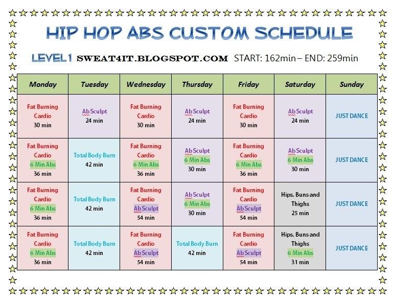 Hip Hop Abs Schedule Month 1 in Hip Hop Abs Schedule Printable
