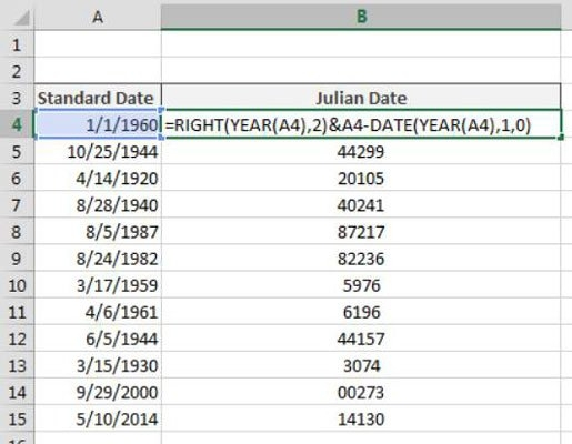 How To Convert Dates To Julian Formats In Excel - Dummies with Julian Calendar Date Lookup Graphics