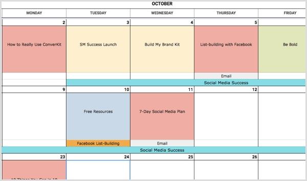 How To Create A Social Media Calendar: A Template For inside Free Color Code Calendar Month View