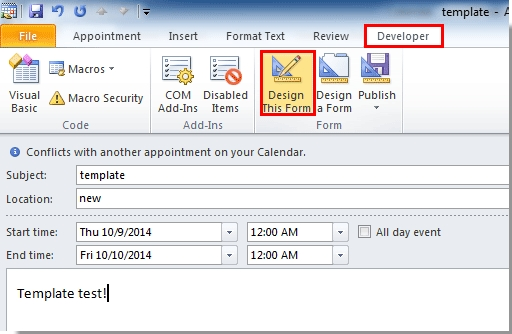 How To Create Appointment Or Meeting Template In Outlook? for Calendar Invite Template