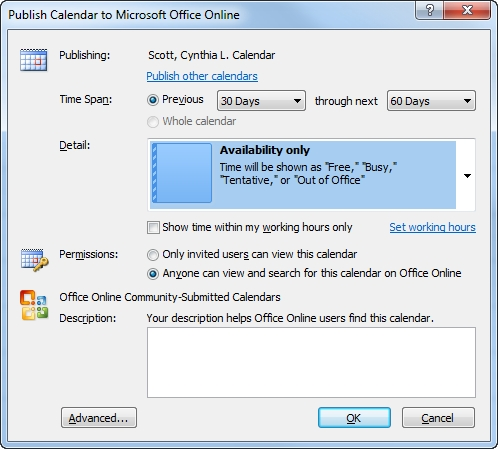 How To Share Calendar In Outlook, Email It And Publish To regarding What Do Limited Calendar Details Look Like Photo