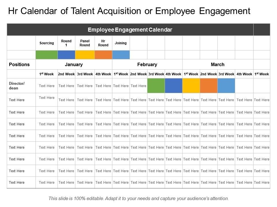 Hr Calendar Of Talent Acquisition Or Employee Engagement for Hr Calendar Sample Photo
