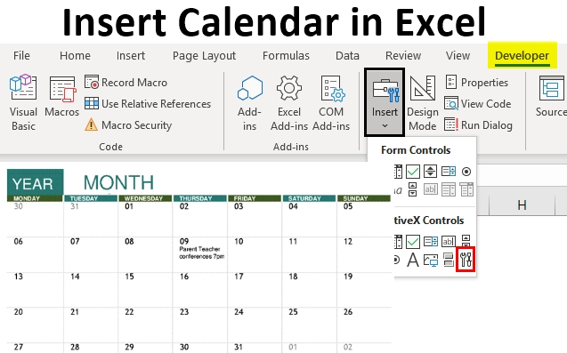 Insert Calendar In Excel | Examples To Create And Insert for Create  Dropdown Calendar In Excel Photo
