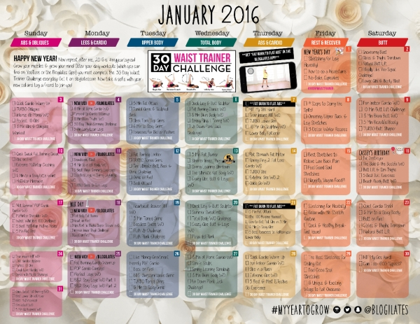 January 2016 Calendar Is Here! Get The Pw When You Sign Up with regard to Blogilates Calendar Graphics