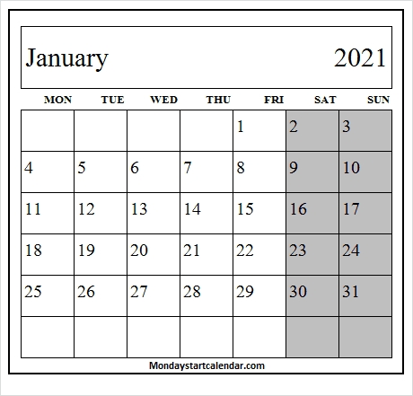 January 2021 Weekly Calendar - 2021 Monthly Printable Calendar with regard to Monthly Calendar Weekdays Only Photo