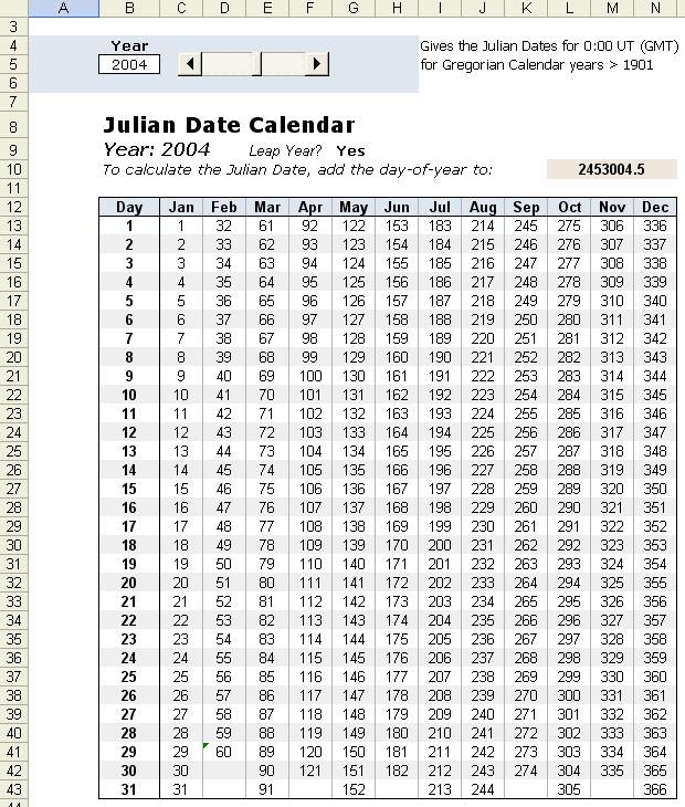 Julian Date Calendar In Excel for Ordinal Date Calendar