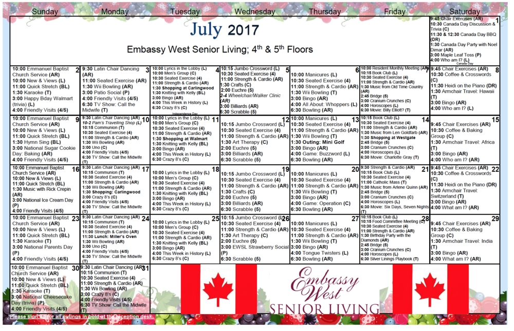 July Activities Calendars — Embassy West Senior Living inside Calendars For Dementia Patients Photo