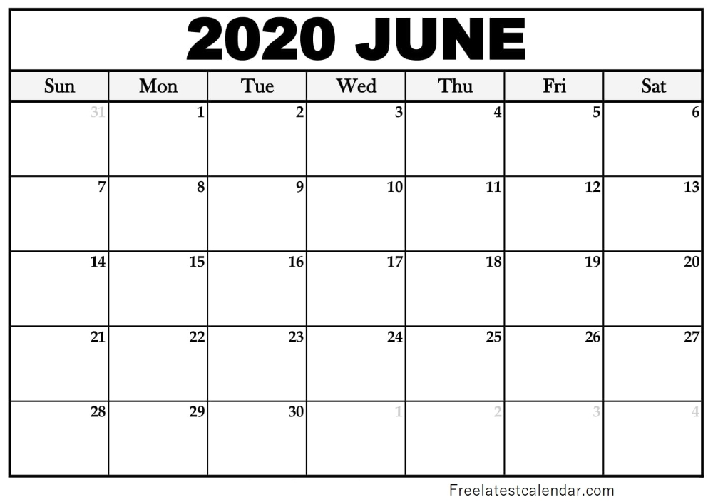June 2020 Printable Calendar For Microsoft Word, Excel And for June 2020 Calendar With Time Slots Photo