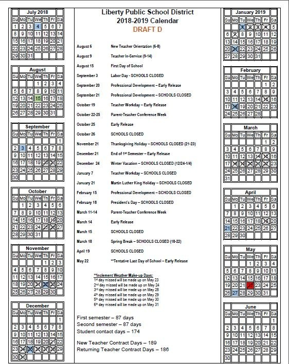 """Lps53 On Twitter: """"Like To Plan Ahead? Our 2018-2019 inside Liberty Academic Calendar Photo"""
