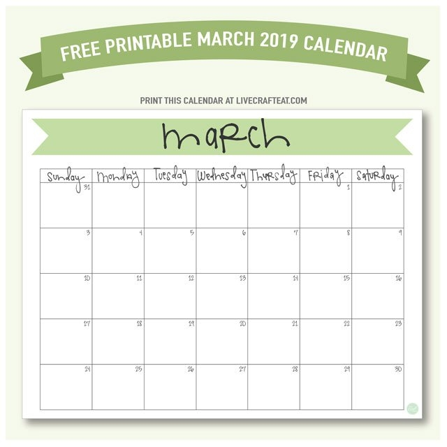 March 2019 Calendar - Free Printable | Live Craft Eat pertaining to 8.5 X 11 Printable Calendar Photo