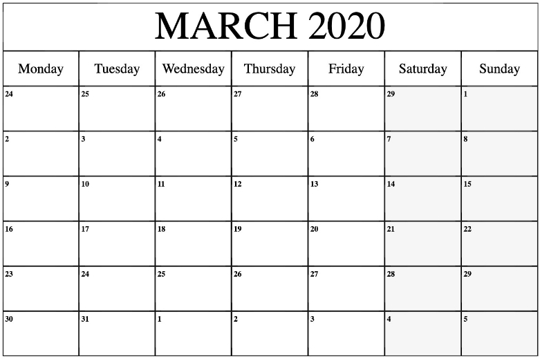 March 2020 Calendar Printable | Calendar March, Excel in 2020 Monthly Calendar Template Word Photo