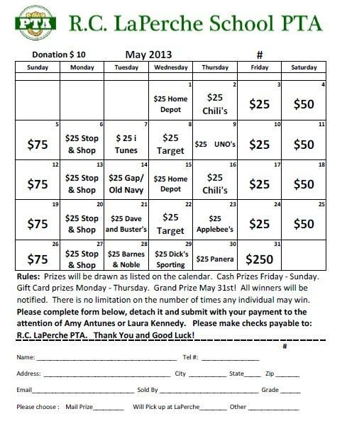May Calendar Raffle – Purchase Tickets Today! pertaining to Lottery Fundraiser Calendar Image