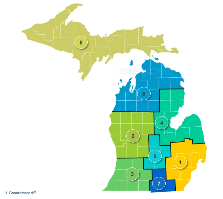 Michigan Counties Divided Into Regions To Help Restart The in State Of Michigan Employee Calendar Graphics