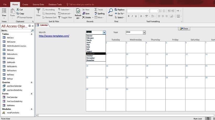 Microsoft Access Calendar Form Template For Microsoft Access with Ms Access Calendar Template Free
