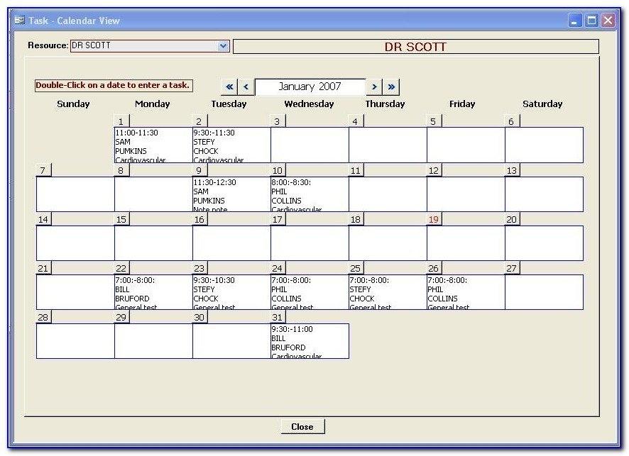Microsoft Access Calendar Template Microsoft Access Schedule regarding Microsoft Access Calendar Schedule Image