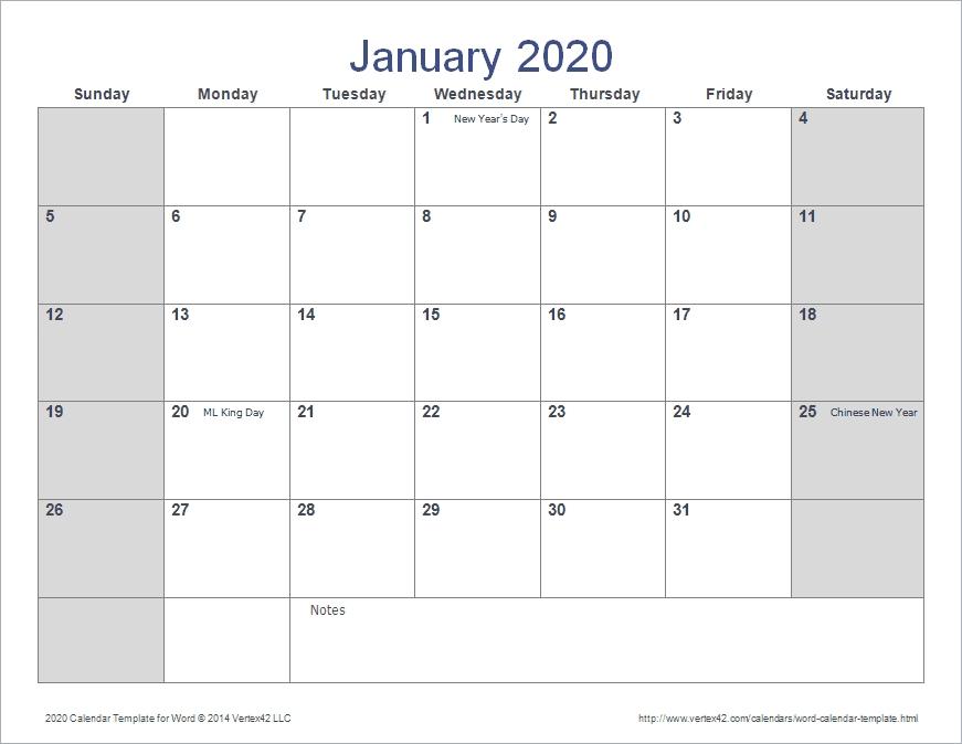 Microsoft Calendar Templates 2020 - Cprc for Microsoft Calendar Template 2020 Image
