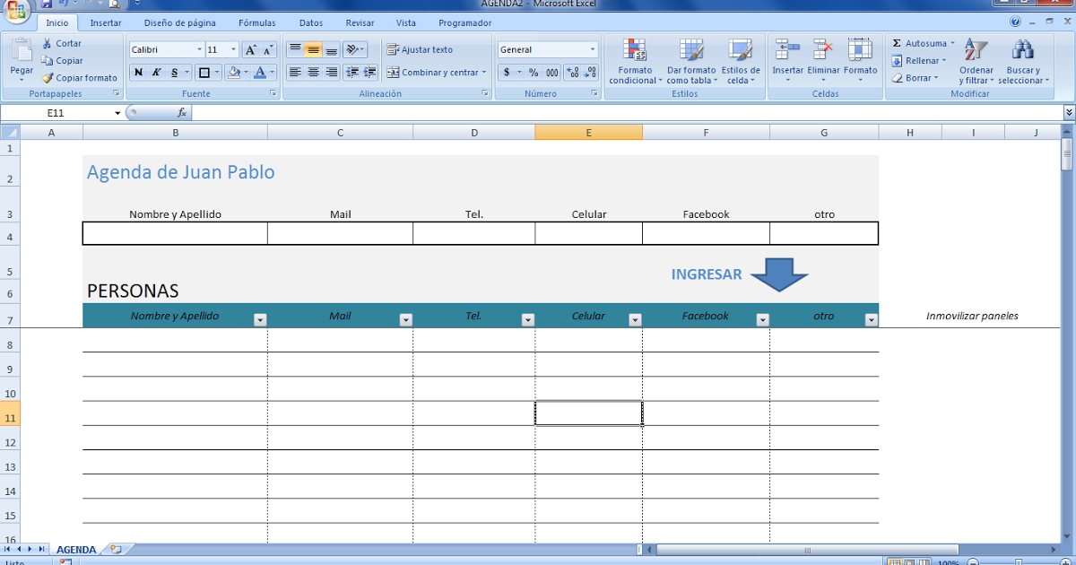 Mini Aplicaciones En Excel: Agenda En Excel (Address Book In within Bajar Agenda Para Excel Image