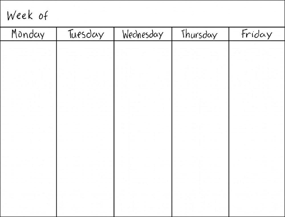 Monday Thru Friday Printable Calendar | Weekly Calendar pertaining to Printable Monday Thru Sunday Calendar Image