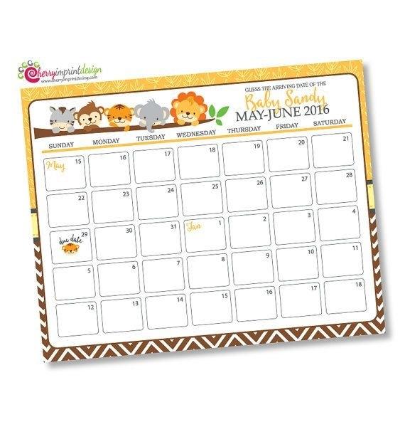 Monkey Baby Due Date Calendar Editable Pdf Greeting Cards inside Baby Due Date Calendar Photo