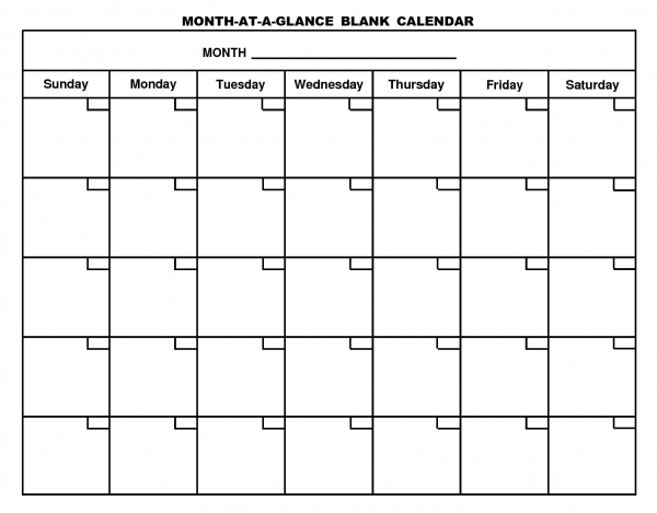 Month At A Glance Calendar   Desktop Calendar   Blank pertaining to Empty Calendar Grid 8.5 X 11