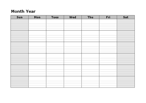 Monthly Blank Calendar With Day Notes Landscape - Free pertaining to Printable Monthly Planner With Lines Photo