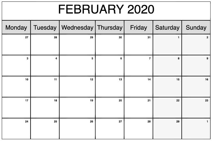 Monthly Printable Calendar February 2020   Calendar throughout 2020 February Calendar Printable Free Pdf