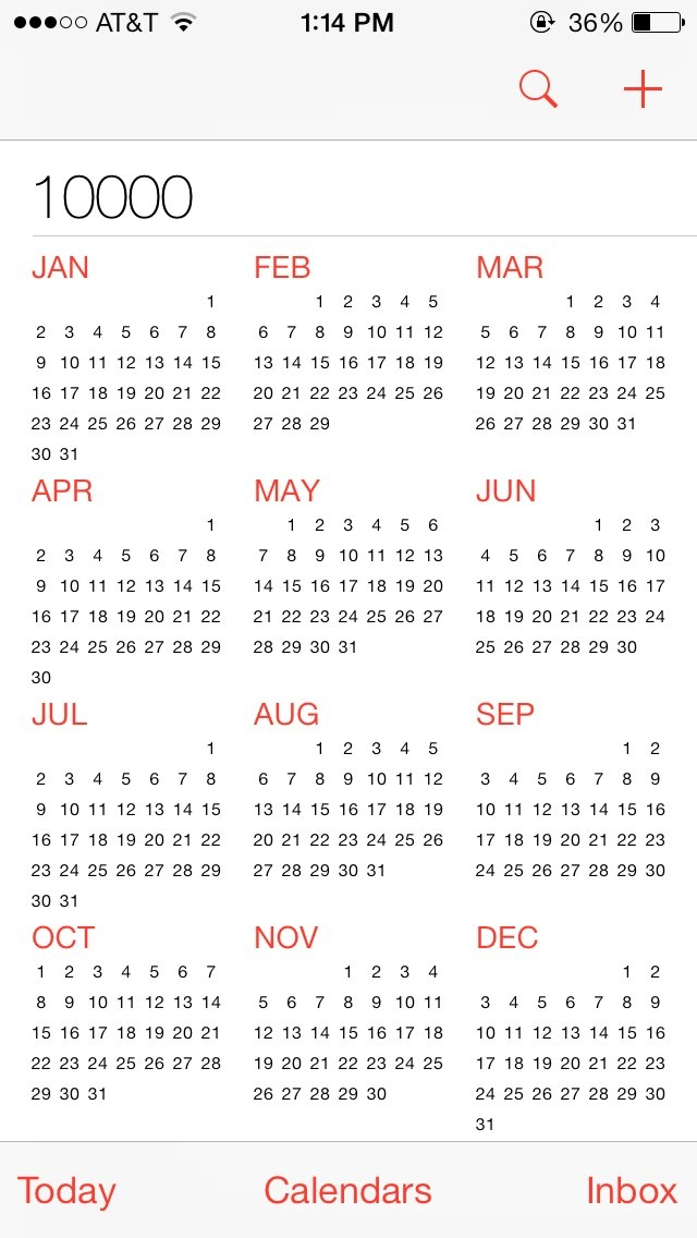 My Iphone Calendar Goes To The Year 10,000, And Keeps Going in 10,000 Calendar