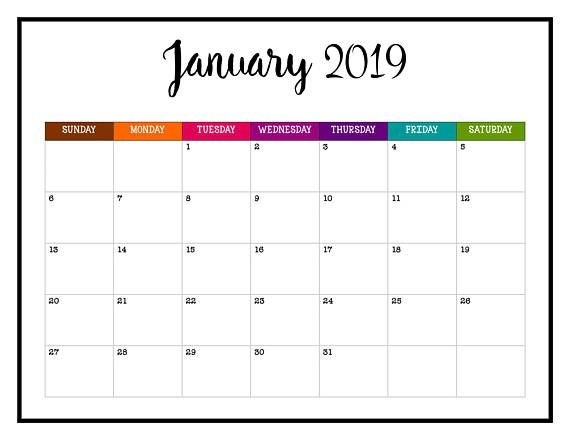 Never Miss An Appointment In 2019 With This Brightly Colored with Free Printable Extra Large Calendars