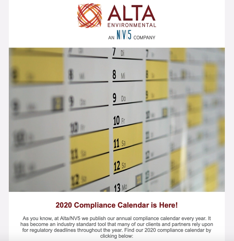 Newsletters - Alta Environmental intended for Alta Disclosure Calendar