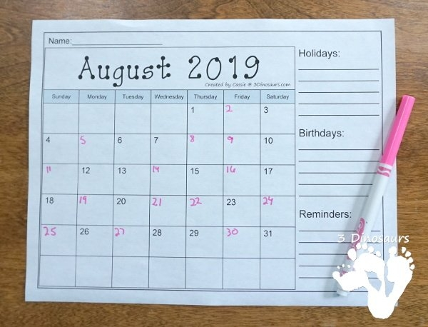 Non-Themed Calendars Set For August 2020 – July 2022 | 3 for Write In Calaendars Graphics