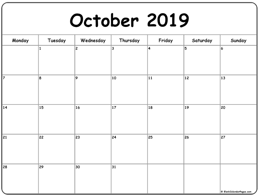 October 2019 Monday Calendar | Monday To Sunday | Calendar with Printable Calendars Monday Thru Sunday