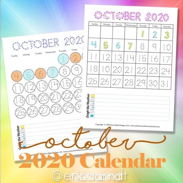 October 2020 Printable Calendars - Confessions Of A Homeschooler with regard to Fun Free Printable Shorttime Calendars